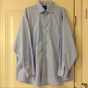 JOS A BANK BLUE WHITE WINDOWPANE DRESS SHIRT